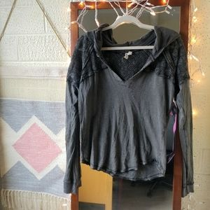 Free People We the Free Crochet Gray Hoodie